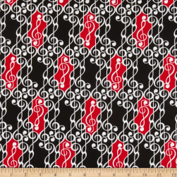 Kanvas Musical Moments G Clef Scroll Black Fabric