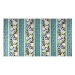Benartex Totally Tulips 24'' Panel Stripe TealMulti Fabric