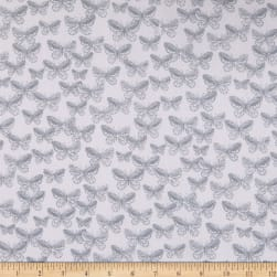 Kanvas Better Basics Deluxe Cotton Tonal Butterflies White/Gray