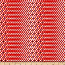 Clothworks Tiny Print Nation Geo Light Red Fabric