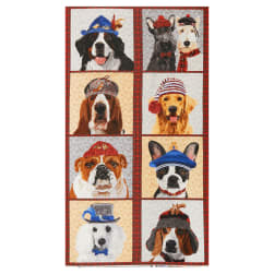 Andover Ruff Life 24'' Panel Ruff Red Fabric