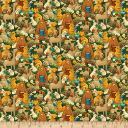 Paintbrush Studios Forest Fables Animal Allover Green Brown Fabric