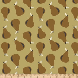 Paintbrush Studios Fruity Pears Brown/Gold Fabric