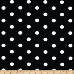 Fabric Merchants Cotton Spandex Stretch Jersey Knit Polka Dot Black/Ivory