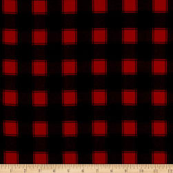 Timeless Treasures Flannel Buffalo Check Red Fabric