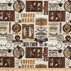 Timeless Treasures Fresh Brew Coffee Labels Taupe Fabric