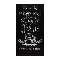 Timeless Treasures 24'' Can't Buy Happiness Panel Black Fabric