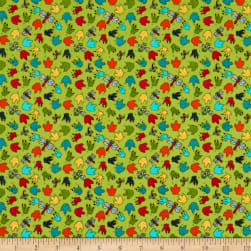 Henry Glass Whirly-Gig Magic Paw Print Green Fabric