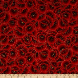 Kaufman Gilded Blooms Poppies Poppy Fabric