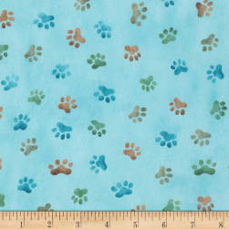 Kaufman Whiskers & Tails Paws Dusty Blue