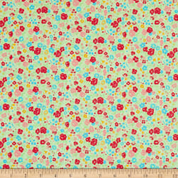 Lecien Antique Flower Pastel Floral Toss Tea Green Fabric