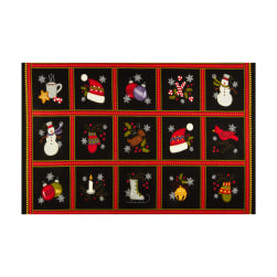 Maywood Studio Most Wonderful Time Flannel Squares 26'' Panel Black Fabric