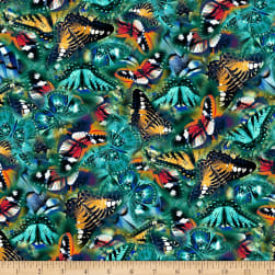 Butterfly Vortex Small Butterfly Teal Fabric