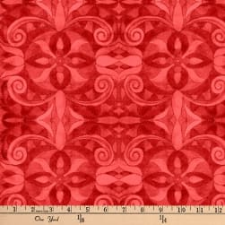 """Baroque Digital 108"""" Quilt Backing Red"""