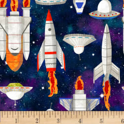 Lost In Space Spaceships Black Fabric