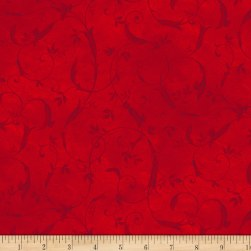 P&B Textiles Bella Suede Wide Scroll Red Fabric