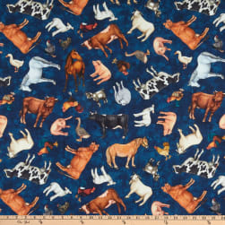 QT Fabrics Sunrise Farms Farm Animal Toss Navy