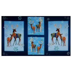 QT Fabrics Digital First Frost Deer Patches 24'' Panel Navy