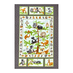 Susybee Woodland Friends 36'' Quilt Panel Grey Fabric
