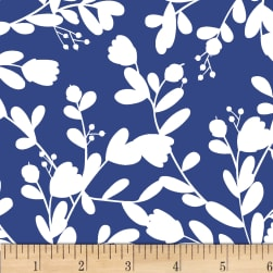 P&B Textiles Pepino Large Leaves Dark Blue
