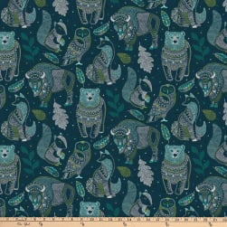Northcott Great Plains Spirit Animals Dark Teal Fabric