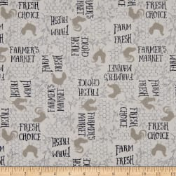Wilmington Free Range Fresh Words Allover Cream Fabric