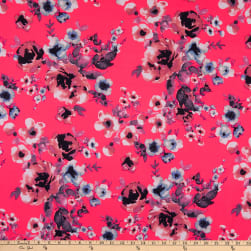 Double Brushed Poly Jersey Knit Abstract Floral Garden Pink Fabric