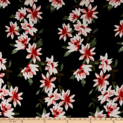 Double Brushed Poly Jersey Knit Floral Garden Black/Red Fabric
