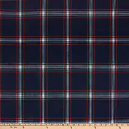 Merchants Techno Scuba Stretch Stretch Knit Plaid Indigo