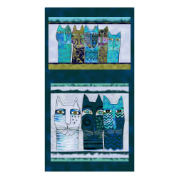 "Clothworks Feline Frolic 24"" Panel Dark Teal Metallic"