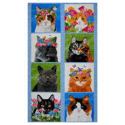 """Andover Meow Meadow Cat 24"""" Panel Blue"""