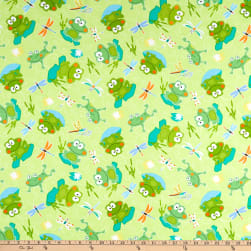 Kanvas Toadily Cute Hop Along Frogs Lime Fabric