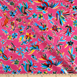 Oilcloth Aztec Inspired  Pink Fabric
