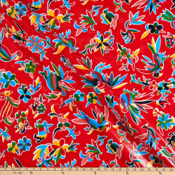 Oilcloth Aztec Inspired  Red Fabric