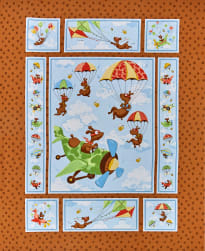 Susybee Zig Flying Ace Dog Quilt 36'' Panel Brown Fabric