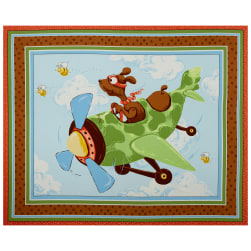 Susybee Zig Flying Ace Dog Quilt & Play Mat 36'' Panel Blue Fabric