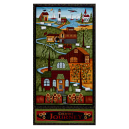 "Henry Glass Country Journey Banner 24"" Panel Black"