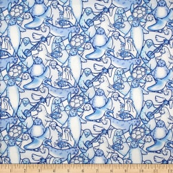 Trans-Pacific Textiles Happy Seals of Approval Blue Fabric