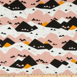Cloud9 Organic Cotton Duck Wildlife Pink Mountain White/Pink