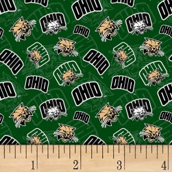 NCAA Ohio Bobcats Tone on Tone Green/Black/White/Tan Fabric