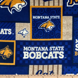 NCAA Montana State Bobcats Fleece College Patch Blue/Gold/White/Gray Fabric