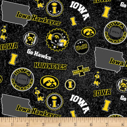 NCAA Iowa Hawkeyes Home State Yellow/Black/White/Grey Fabric