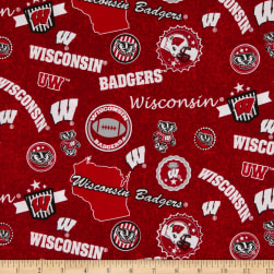 NCAA Wisconsin Badgers Home State Red/Black/White/Grey Fabric