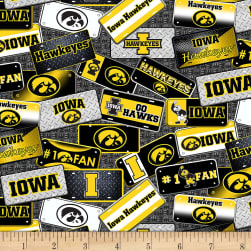 NCAA Iowa Hawkeyes License Plate Cotton Multi Fabric