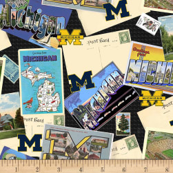 NCAA Michigan Wolverines Scenic Postcard Cotton Multi Fabric