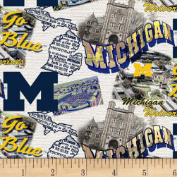 NCAA Michigan Wolverines Scenic Map Cotton Multi Fabric