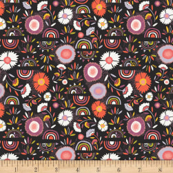 Art Gallery Kushukuru Stretch Jersey Knit Divine Pacha Black/Purple/Orange/White Fabric
