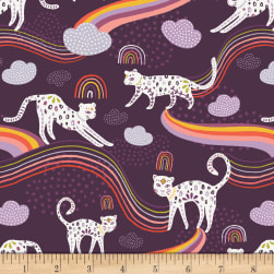 Art Gallery Kushukuru Rainbow Jaguar Purple/White/Orange Fabric