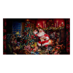 "Shannon Hoffman Digital Minky Cuddle 35"" Panel Santa"
