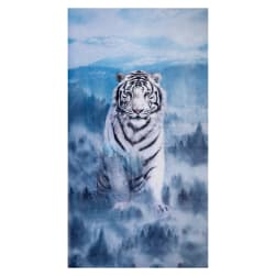 Shannon Hoffman Digital Minky Cuddle 36'' Panel Siberian Tiger Ice Blue Fabric